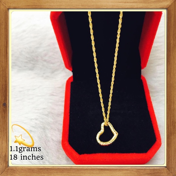 Stamped Jewelry 18k Real Saudi Gold Open Heart Necklace Poshmark